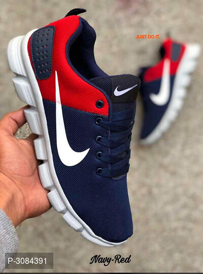 Elegant Navy Blue Mesh Men's Sports Shoes