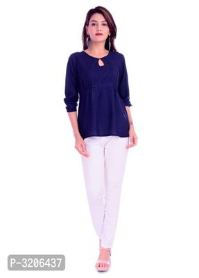 Reliable Navy Blue Rayon Solid Women's Top
