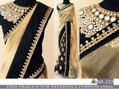 Designer saree with embroidery work