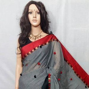 cotton khaadi fully fitted pom pom sarees