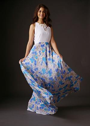 White and blue floral gown