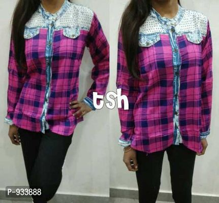 Time for party wear shirts 🌟🌟🌟🌟 Beautiful rayon & Denim shirts Fancy work on denim part near neck  😍😍😍😍😍 Length 24 Size free 26-36 bust  Rs 490  #tsh