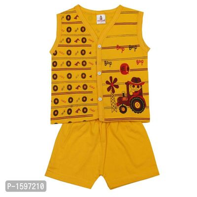 Infant Cotton Yellow Printed Top and Bottom Set
