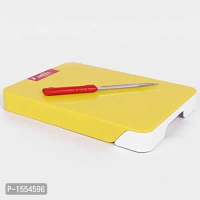 ABS Plastic Chop & Clear Cutting Board with One way Tray and Stainless Steel Knife (Length: 28cm Color: Yellow+White)