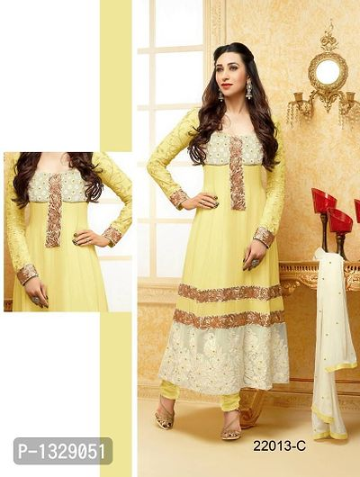 Yellow Embroidered Georgette Dress Material