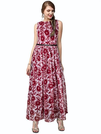 Red Printed Georgette Maxi Dress