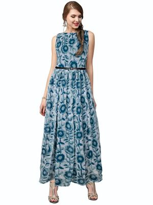 Green Printed Georgette Maxi Dress