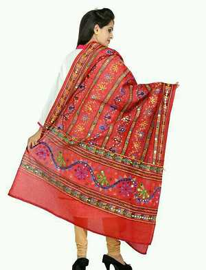 traditional duptta with heavy embroidery