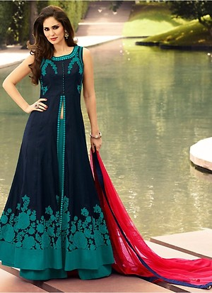 Navy Blue & Rama Green Camric Cotton Indo Western