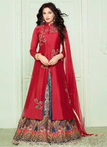 Red & Blue Banglori Silk Indo Western