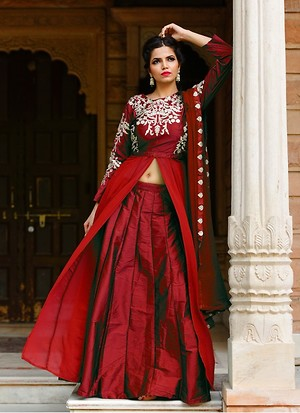 Ladies Indo Western Green Taffeta Gown - Buy latest collections ...