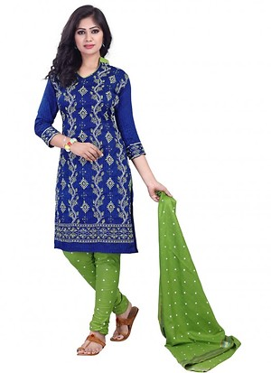 Blue And Light Green Color Hand Work Cotton Dress Material