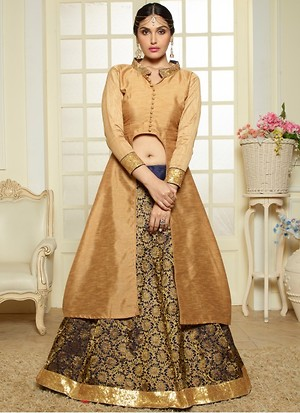 Gold And Blue Banglori Designer Indo Western Wear
