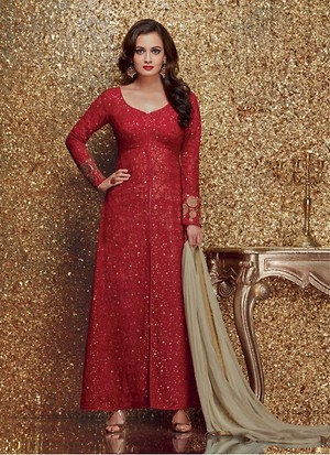 Red Sequanc Embroiderey Work Long Anarkali Suit