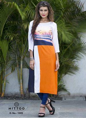 Printed White & Orange Rayon Kurti