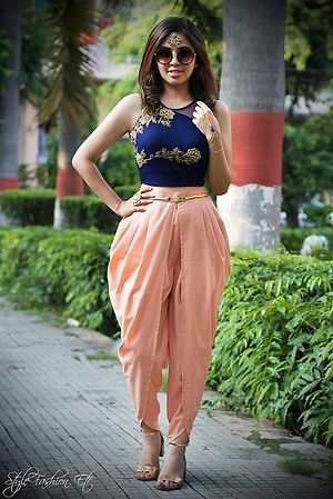 Blue and peach combination indo-western Dress