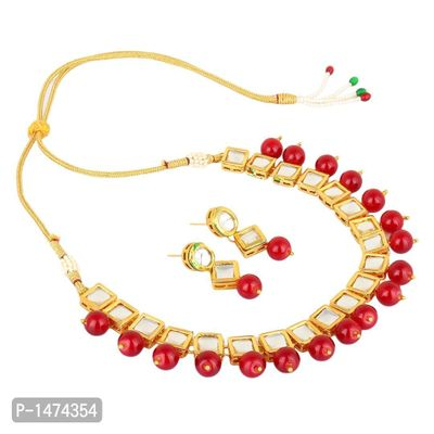 Traditional Meena Kundan Gold Plated Pearl Necklace Set