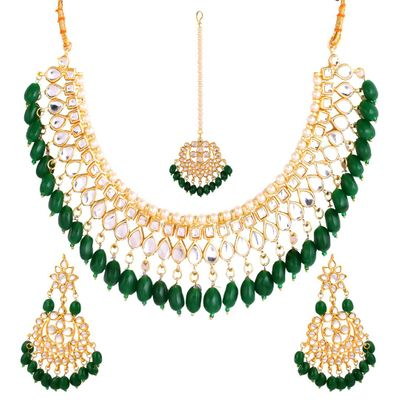 Stylish Fancy Party Wear Gold Plated Kundan Necklace Set Traditional with Earrings & Mang Tika