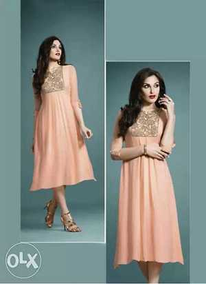 new faux Georgette Peach Kurti