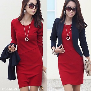 Red Fashion Dress Casual Office Western Top