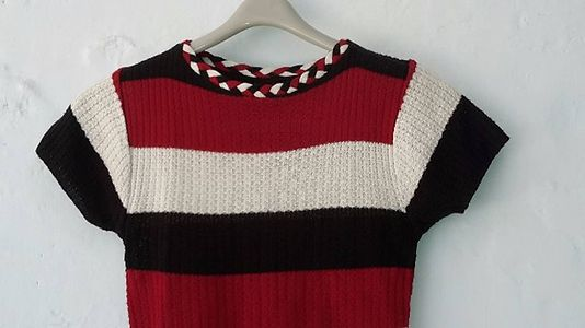 Knitted western stripe top