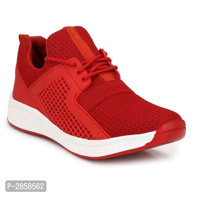 Men's Red Synthetic Sports Shoes