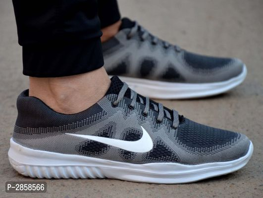 Men's Grey Synthetic Sports Shoes