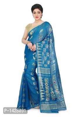 Blue Embroidered Jamdani Handloom Silk Cotton Blend Saree