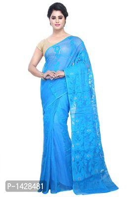 Blue Jamdani Handloom Silk Cotton Blend Saree
