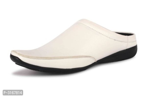 Men's High Fashion White Mule Loafers