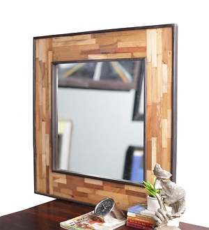 Wooden Frame Square Mirror