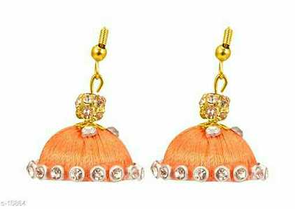 Silk Earrings Material: Plastic  Occasion: Festive   Earring Back Type: Fishhook  Description: It Has 1 Pair Of Stylish Earrings  Care: Keep This Product Away From Sprays, Water And Other Corrosive Liquids  Dispatch: 2 - 3 Days