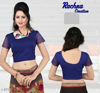 Designs in Blouses Fabric: Poly Lycra  Sleeve: Sleeves Are Included  Size: Bust - Upto 40 in to 44 in (Free Size)  Length: 15 in  Type: Stitched  Pattern: Solid  Dispatch: 2 - 3 Days