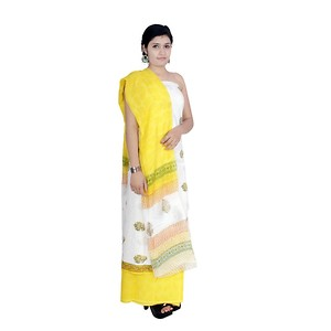 Aaditri Clothing Women's Cotton Unstitched Salwar Suit (White)-acbs50