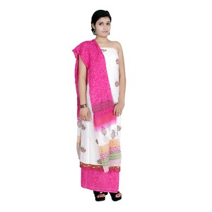 Aaditri Clothing Women's Cotton Unstitched Salwar Suit (White)-acbs51