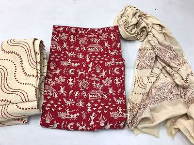 Cotton top with mul cotton dupatta and cotton bottom