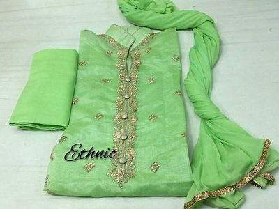 Embroidery Silk suits with chiffon dupatta