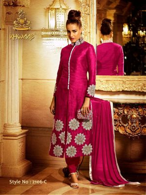 Maroon Embroidered Georgette Semi Stitched Salwar Suits