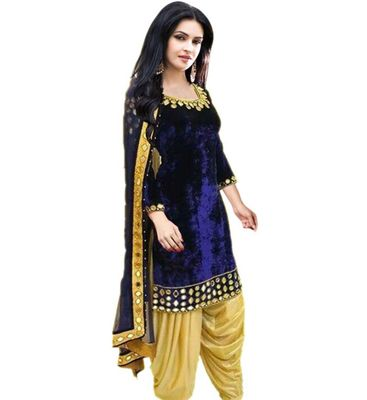 Black  Solid Velvet Semi Stitched Salwar Suits