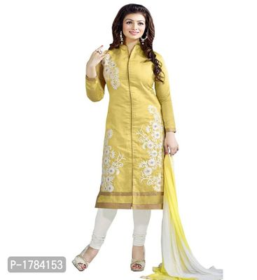 Yellow Embroidered Georgette Semi Stitched Salwar Suits