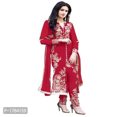 Red Embroidered Georgette Semi Stitched Salwar Suits