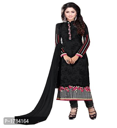 Black Embroidered Georgette Semi Stitched Salwar Suits