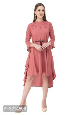 SOLID RAYON HIGH-LOW DRESS