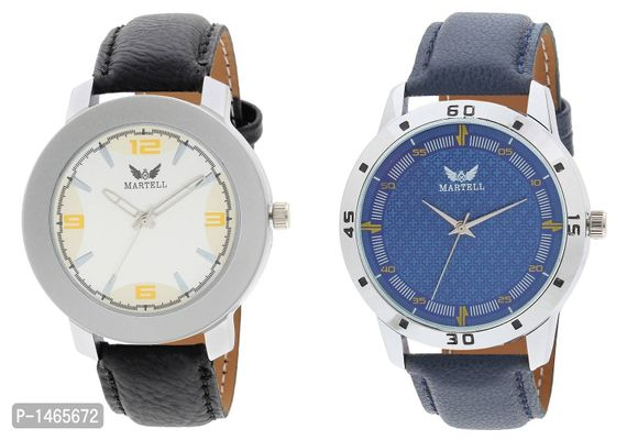 Pack of 2 Doran Series Round Geniune Leather Strap Analog Sports/Stylish Watch