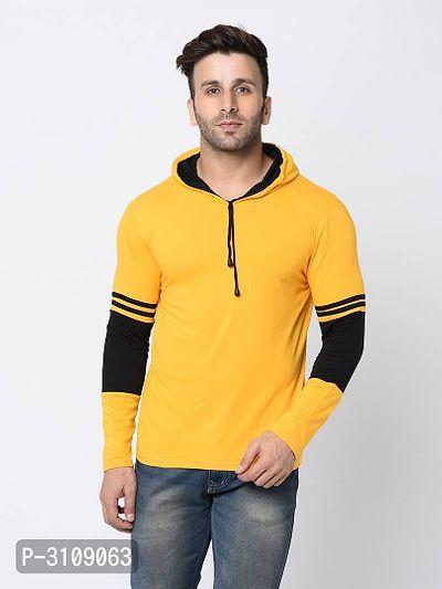Men's Yellow Cotton Self Pattern Hooded Tees