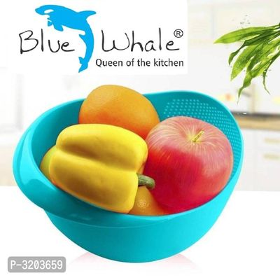 Bluewhale Rice Pulses Fruits Vegetable Noodles Pasta Washing Bowl And Strainer Good Quality And Perfect Size For Storing And Straining