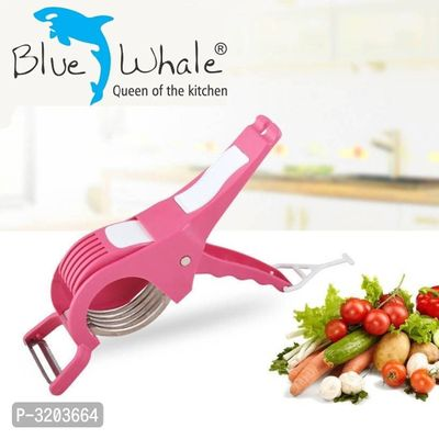 Bluewhale 2 In 1 Stainless Steel 5 Blade Vegetable Cutter With Peeler, PINK