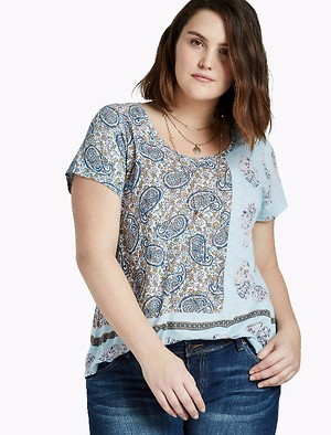 Luck Brand Women's Plus Size  Mixed Tee%>