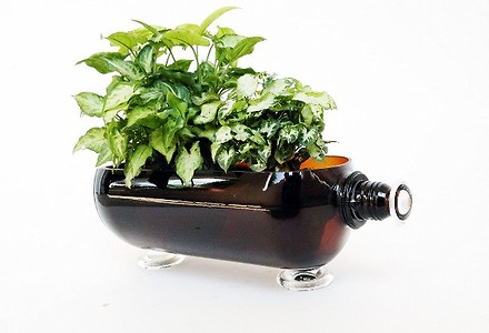 GLASS BOTTLE PLANTER