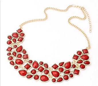 Jhinuq Red Geometric Comtemporary Vintage Necklace For Women